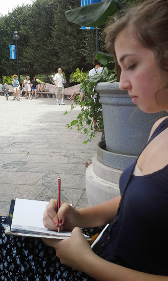 A girl and her sketch pad