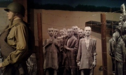 Life size reproductions of pictures of those being liberated and replicas of American soldiers