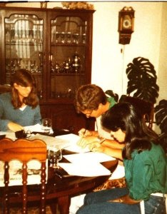 My senior year in high school, studying at my house with my best friends