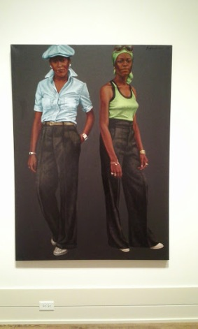 "Oil and acrylics on canvas. ""Sisters"", Hendricks"