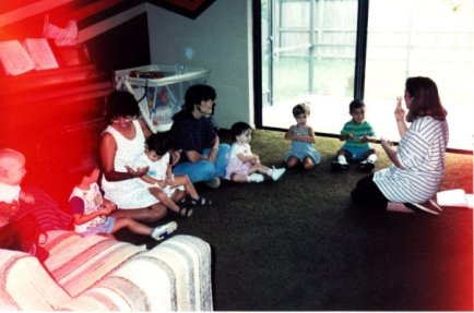 My first mommy-and-me class. My daughter, Lizette is the second kid from the right (his name is Andrew). My baby, Gabriel is sitting, watching, all the way on the left :)
