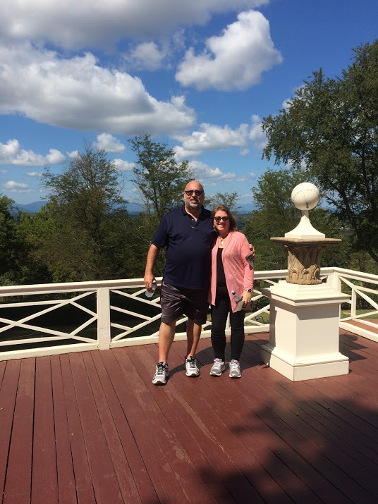 Juan and I at Monticello's terrace, overlooking the dome at UVA and incredible mountain scenery